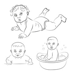 Set of cute babies. Sketch vector illustrations. Baby in diaper, smiling baby, bathing baby.