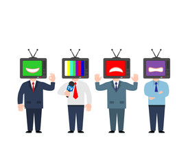 people business man journalist politician man with  tv head emotion isolated on white background concept illustration