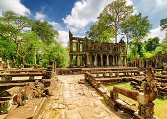 Wall Mural - Mysterious ruins of ancient Preah Khan temple, Angkor, Cambodia