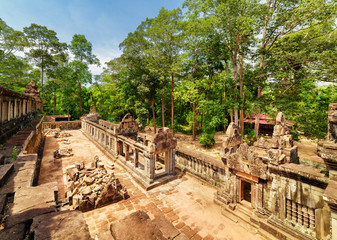 Wall Mural - Top view of galleries of ancient Ta Keo temple in Angkor