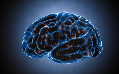 Brain impulses. Neuron system. Human anatomy. transferring pulses and generating information