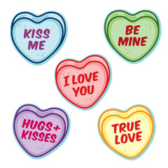 Valentine candy hearts with word sayings