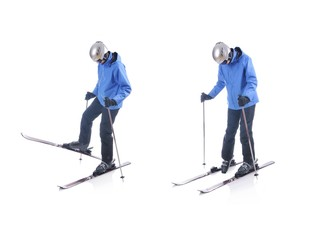 Skiier demonstrate how to take off the skis. Step by step instru