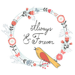 Always and forver card with cute bird and floral wreath