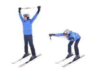 Skiier demonstrate warm up exercise for skiing. Bend forward wit