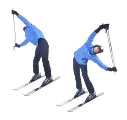 Skiier demonstrate warm up exercise for skiing. Bend sideways wi