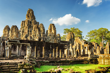 Wall Mural - Stone faces of ancient Bayon temple in Angkor Thom, Cambodia