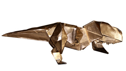 origami dinosaur T-REX isolated on white