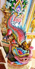 Dragon ceramic statue at Wat Pariwat temple in Bangkok, Thailand