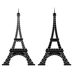 Vector Illustration of Eiffel Tower, Paris. Isolated on white background.