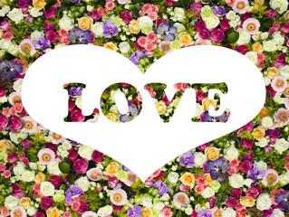 Wall Mural - corazon y flores