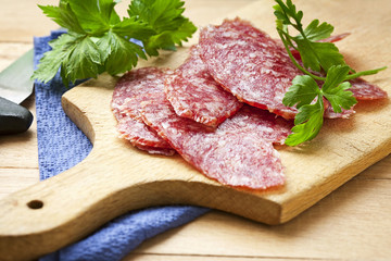 Slices sausage salami