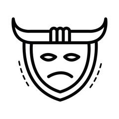 samurai mask icon  line style