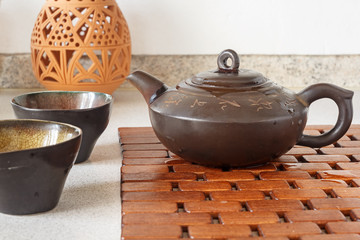 Tea set on a wooden substrate