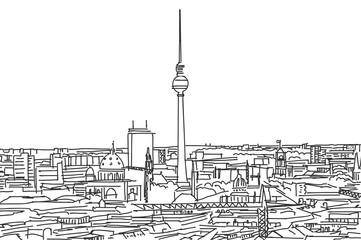 Auf den Dächern von Berlin, Panorama Strichzeichnung