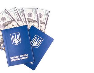 Travel Ukrainian passport with dollars