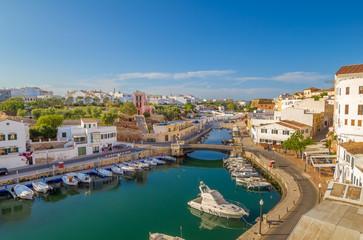 View on Canal des Horts at Ciutadella de Menorca, Spain.