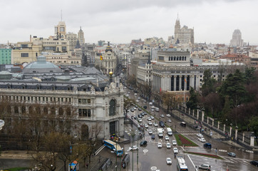 Calle de Alcala in Madrid, Spain. Vew from above