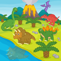 dinosaurs and prehistoric landscape - vector illustration, eps