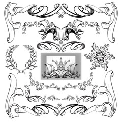 decorative elements in vintage style for decoration layout, fram