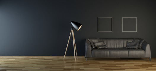 Black room with leather sofa and floor lamp