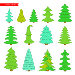 Set of Christmas trees.