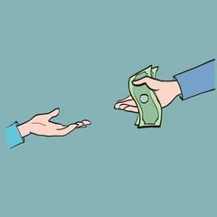 Hand transfers the money, partnership, cooperation calculation s