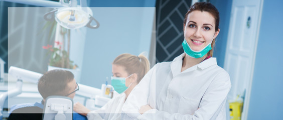 Portrait of beautiful female dentist at busy dentist office. Empty space for text sample.
