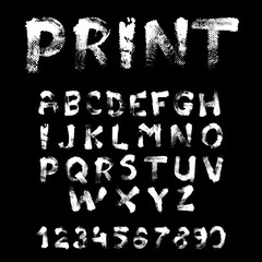 Texture font written with paint on black background