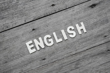 The word english  on the wooden floor