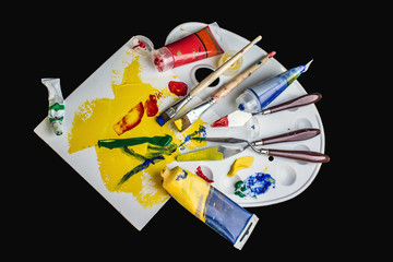 Art palette, paints and brushes
