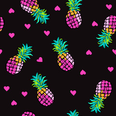 Pink hearts and pineapples ~ seamless background