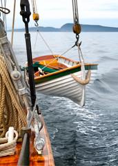 Sailboat hardware on a ship at sea.