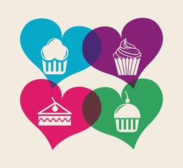 bakery set icons design