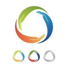 Three Hand Hug Design Logo Vector