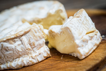 Close up  slice camembert cheese