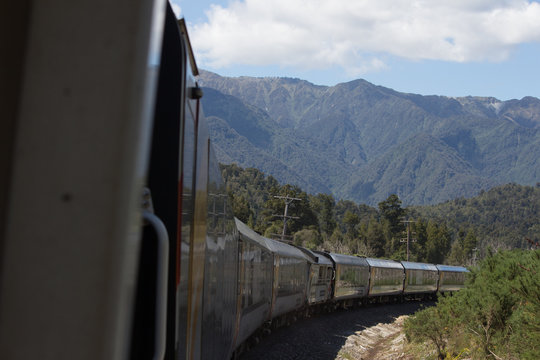 Sweeping Train in the Mountains