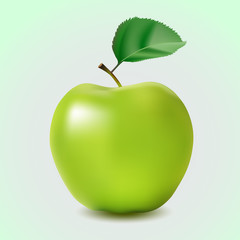 Green apple with leaf isolated on a blue background