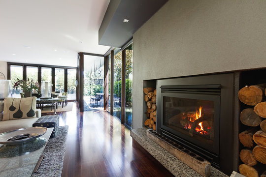 Cosy gas log fire in architect designed modern family home