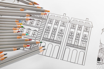 Drawing of buildings and colour pencils