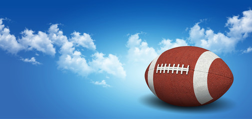 football on grass with blue sky background.