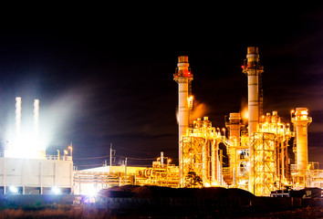 Oil Refinery Working At Night, at Thailand