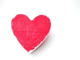 heart made of styrofoam painted with red gouache