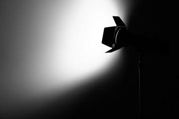 Studio light flash in dark