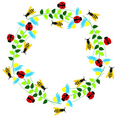 Floral frame with insects. Colorful flower, leaves, ladybugs and wasps arranged in a shape of the circle. Vector design. Series of Cards, Blanks and Forms.