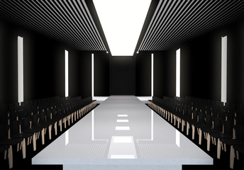 3D illustration of fashion empty runway with spot light. before a fashion show Wall mural
