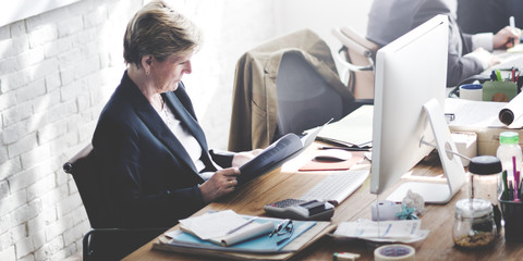 Business Woman Working Brainstorming Ideas Planning Concept