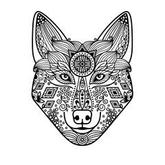 Zentangle wolf head with hand drawn guata ornament. Black image on white background. Vector illustration