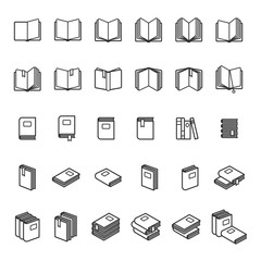 Book thin line icons. Black book images on white background. Vector illustration