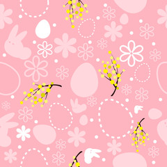 seamless pink easter background with mimosa, flowers, bunny and flowers